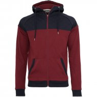 Urban Classics - Diamond Block Zip Hooodie burgundy/navy