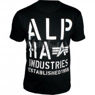 Alpha Industries Basic Shirt Print 4 schwarz/weiss