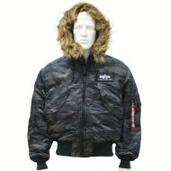 Alpha Industries - CWU 45P Hooded Bomberjacke black camo