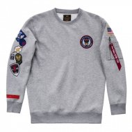 Alpha Industries Crewneck Sweater Patch grey heather