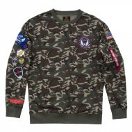 Alpha Industries Crewneck Sweater Patch woodland camo