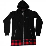 Criminal Damage - Chatham Long Zip Hoodie schwarz/rot (SALE)