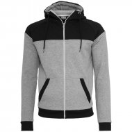 Urban Classics - Diamond Block Zip Hoodie grey/black