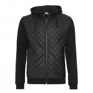 Urban Classics - Diamond Half Leather Imitation Zip Hoodie