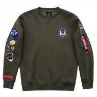 Alpha Industries Crewneck Sweater Patch dark green