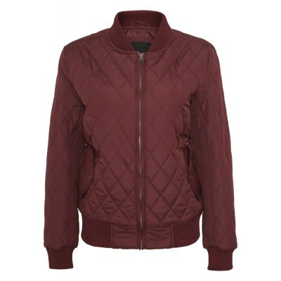 Urban Classics - Ladies Diamond Quilt Nylon Jacket burgundy
