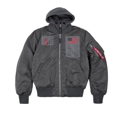 Alpha Industries Bomberjacke MA-1 D-Tec Blood Chit greyblack L