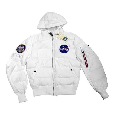 Alpha Industries Daunenjacke Hooded Puffer Apollo 11 white L