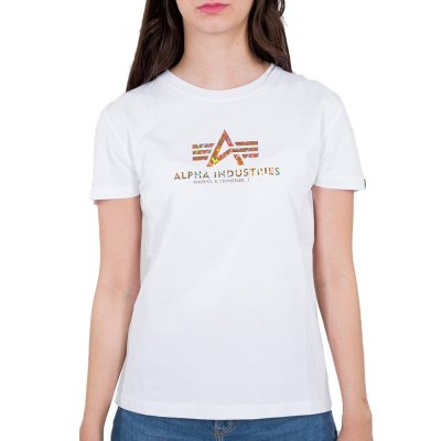 Alpha Industries Damen New Basic T-Shirt Holografic Print white/gold crystal