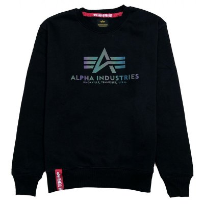 Alpha Industries Herren Sweater Basic Logo Rainbow Ref. Print schwarz
