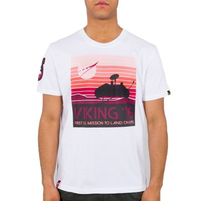 Alpha Industries Herren T-Shirt Viking 76 weiß
